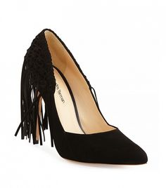 Alexandre Birman Suede Fringe Pumps in Black