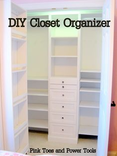 DIY Closet Organizer-- I'm thinking this would be perfect for a craft room, but still versatile enough when that space is needed for kids!