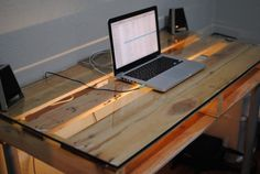 DIY Pallet desk, great for teenage boys room! WIth glass top, add wood legs from Home Depot, or metal legs from Ikea. Cute!