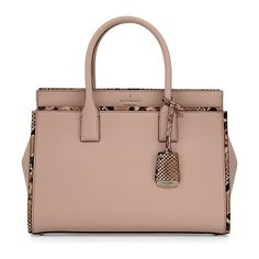 cameron street candace snakeskin satchel bag by Kate Spade New York. kate spade new york crosshatched leather satchel bag with snake-embossed trim. Rolled top handles with hanging logo t...
