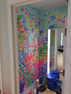 Floor Murals, Wall Murals, Wall Art, Lilly Pulitzer Stores, Lily Pulitzer Painting, King Of Prussia Mall, Glitter On Canvas, Pastel Watercolor, Mixed Media Canvas