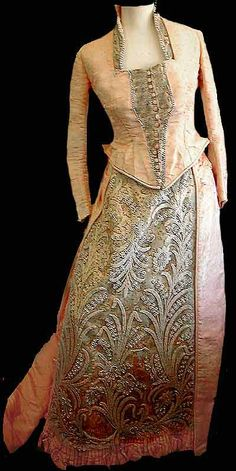 1885 Victorian Pink Silk Faille Opera gown with pearled lace and metallic brocade inserts