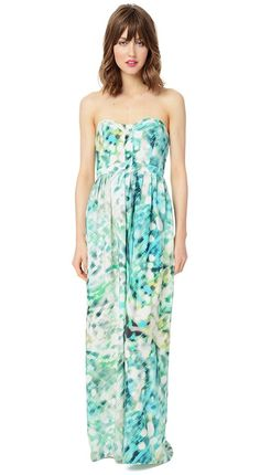 Our signature floor length dress, the Bayou, is back in a cool watercolor print with pops of kelly green and turquoise blue - a perfect color combo...