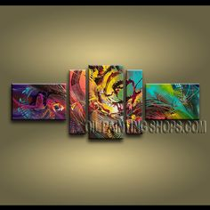Enchant Modern Abstract Painting Oil Painting On Canvas Gallery Stretched Abstract. This 5 panels canvas wall art is hand painted by A.Qiang, instock - $238. To see more, visit OilPaintingShops.com