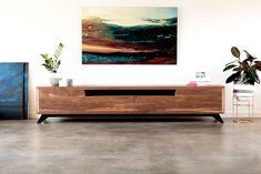 Timber TV Cabinet with Black Legs Modern Kitchen Cabinets, Kitchen Cabinet Design, Custom Furniture, Furniture Design, Floating Tv Unit, Recycled Timber Furniture, Walnut Timber, Tv Stand Designs, Living Room Tv