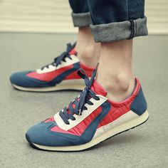 Korean version flows mixed colors low canvas shoe with sporty casual shoes of England mens shoe run Gump shoes