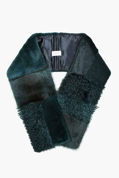 Maison Margiela | Green Teal Patchwork Fur and Shearling Scarf | Lyst