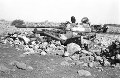 Abandoned Syrian T-55 equipped with a Mine-roller, Golan Heights.
