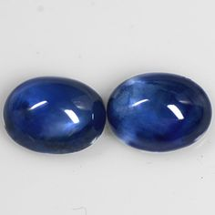 5.81 Cts Real Lustrous Royal Blue Sapphire Oval Cabochon Pair Thailand 9x7 mm $