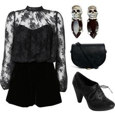 Lady of the Black Manor by seaofblackflames on Polyvore featuring polyvore fashion style Topshop ASOS Iosselliani
