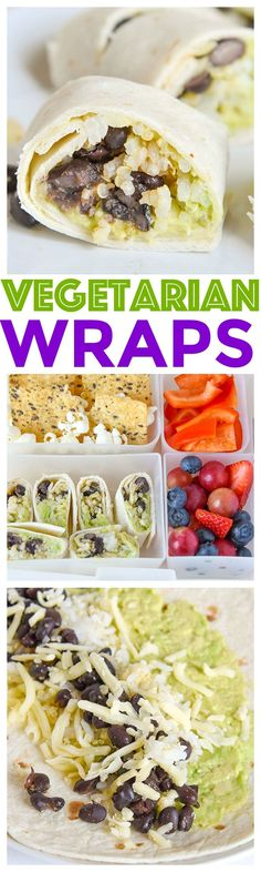 Vegetarian Wraps Recipe - Avocado and Black beans mixed with quinoa rice complete a healthy balanced meal for your kids or even yourself! via Meal Prep Wraps) Vegetarian Wraps, Vegetarian Recipes, Going Vegetarian, Healthy Recipes, Whole30 Recipes, Avocado Recipes, Healthy Food, Wrap Recipes, Lunch Recipes