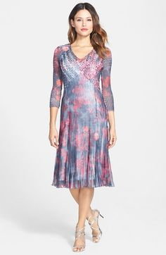 Komarov Floral Print Chiffon & Charmeuse A-Line Dress available at #Nordstrom