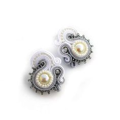 NEW Bridal Jewelry Soutache Earrings White Silver by AdityaDesign