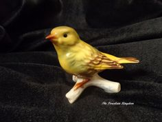 Vintage Goebel Porcelain Canary Bird Perched on Branch.