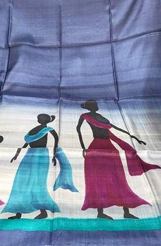 Grey Handpainted Bhagalpur Tussar Silk  Kurti fabric