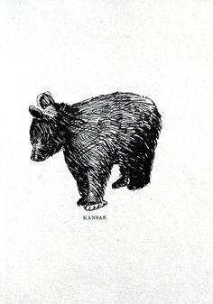 Vintage Printables- Animal - Bear - Baby bear drawing 2