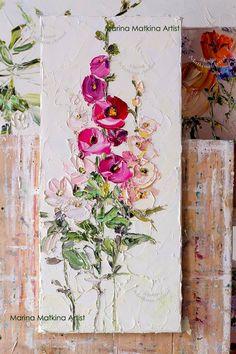 Oil Painting Flowers, Abstract Flowers, Painting & Drawing, Large Canvas Art, Art Moderne, Pretty Art, Art Tutorials, Flower Art, Watercolor Art