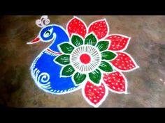 Rangoli Designs Peacock, Easy Rangoli Designs Diwali, Rangoli Simple, Indian Rangoli Designs, Rangoli Designs Latest, Simple Rangoli Designs Images, Free Hand Rangoli Design, Rangoli Border Designs, Small Rangoli Design