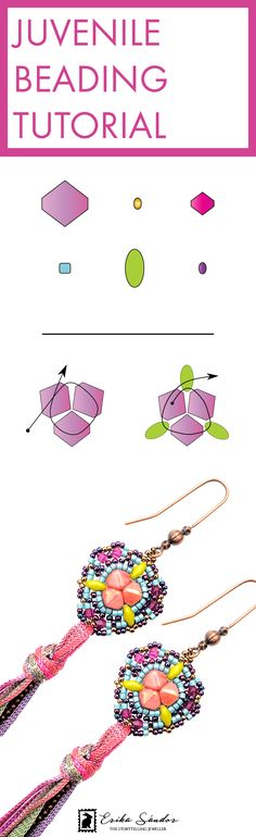 Beading tutorial / schema / instructions / pattern with pyramid beads, biceone beads from Swarovski Elements, Miyuki Delica Japanese seed beads, Matubo SuperDuo Czech beads, Toho beads from Japan. Pink, fuchsia, purple, turquoise, avocado green earrings. Beading, bead, beadweaving, bead art. Design by Erika Sandor The Storytelling Jeweller. Beadsmith Inspiration Squad.