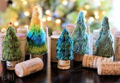 How cute! Knitted Christmas Tree Forest pattern. (wine cork cozies)