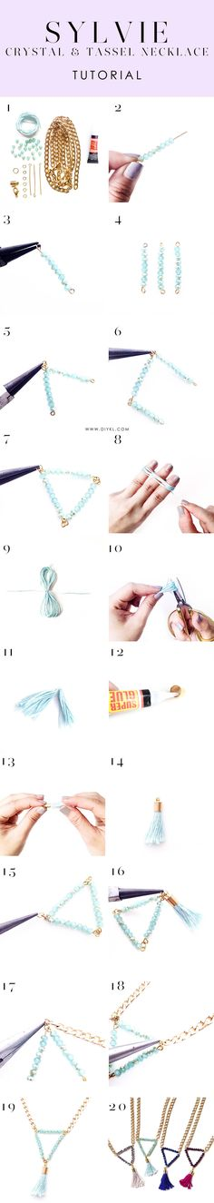 Make your own crystal and tassel necklace with the SYLVIE DIY kit. Read our tutorial here. Shop from DIYKL and enjoy worldwide shipping.