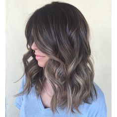 Whether you've got long dark hair or a blonde bob, adding balayage highlights is the perfect way to brighten up your hair color and add dimension to your style! Pelo Bronde, Ash Balayage, Balayage Brunette, Brunette Hair, Ash Blonde Highlights On Dark Hair, Brown To Grey Ombre, Ash Brown Hair Balayage, Ash Ombre, Baby Highlights
