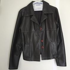 Stylish! Women's Brown Faux Leather Jacket Vintage and classic, trendy and stylish! Very soft feel. Feels like real leather! Can dress up or down with jeans or a nice outfit. Used but in good condition aside from missing a button and slight shredding (see pic 4). Many years of wearing and getting compliments! Highway Original Style Jackets & Coats