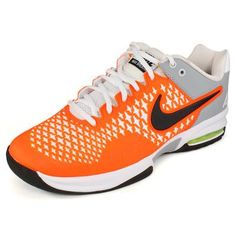 Nike Men`s Air Max Cage Tennis Shoes White and Orange 12.5