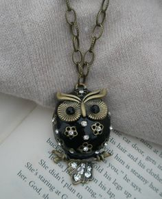 Owl necklace Black owl necklace Painted glossy owl by RandLDesign 7f38485461bab