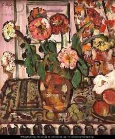 A Still Life of Fruit and Flowers - George Leslie Hunter