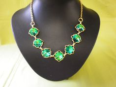 Stunning Vintage Large Faceted Green by EternalElementsEtsy SOLD
