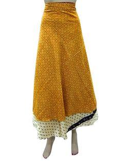 Yellow Printed Two Layer Sarong Long Silk Wrap Around Skirt Mogul Interior http://www.amazon.com/dp/B00HTW0HLO/ref=cm_sw_r_pi_dp_aga5tb05Q79QD