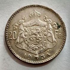 BELGICA 1934 KM104.1 20 FRANCS moeda de prata SOB..