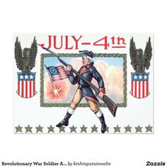Revolutionary War Soldier American Flag Shield 5x7 Paper Invitation Card