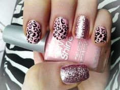 """super cute!    Picked up """"Tinkled Pink"""" Wild Shine, contrast nails done with """"Sparkled"""" Wild Shine. Leopard done with Konad stamping"""