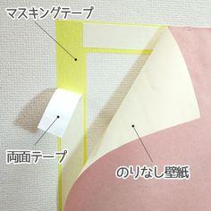 シンク下の扉にペタリ。  扉にマスキングテープを貼ってから両面テープで箱をつけると  剥がすときに扉にテープが残らないので便利です。 出典 http://39.benesse.ne.jp  出典 http://item.rakuten.co.jp DIYではかなり多くの人が使っているこのワザ!賃貸のマンションなどでも使えますので、覚えておきましょう♪  マスキングテープをまず壁や棚などに先に貼ります。マスキングテープははがせますので、賃貸でも壁など傷つけません。そして、そのマスキングテープの上に両面テープを貼ります。そうすることで、全てはがすときは、マスキングテープをはがせばいいだけ。両面テープの上に壁紙やシート、布など貼りたいモノを付けます。