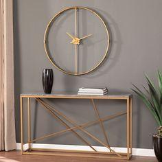 Carson Carrington Home Dexdale Contemporary Gold Large Metal Clock(Aluminum) Metal Walls, Metal Wall Art, Pendulum Wall Clock, Clock Wall, Roman Clock, Minimalist Living, Minimalist Style, Minimalist Fashion, Metal Clock
