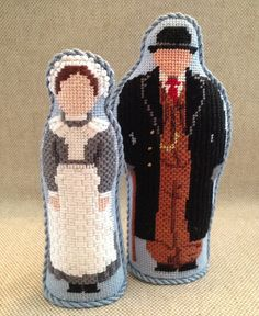 Anna & Bates, Downton Abby  Stand-ups ~ canvases by Rogue Needlepoint