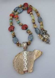 Fabulous Signed Southwestern Sterling Silver and Gemstone Figural Bold Pendant Necklace