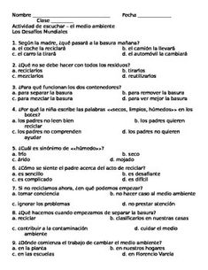 El medio ambiente & los desafios mundiales listening activity and link to video.  This environment listening activity includes ten multiple choice questions (four answer choices each) in Spanish. This is an ideal activity for upper level Spanish courses and accompanies el medio ambiente and los desafios mundiales AP theme. These questions can be used as a practice or an assessment.