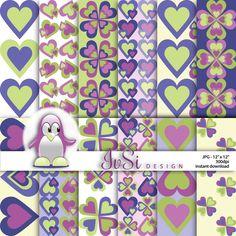 Hearts digital paper pack, purple scrapbook paper, hearts background, hearts scrapbook paper, bridal shower hearts, SALE until April 30th by IvSiDesign on Etsy