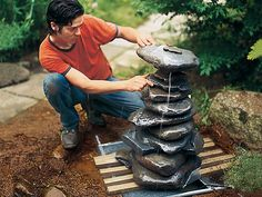 placing stones for a pondless garden fountain