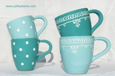 Light Colors, Colours, Recycling, Ceramic Pottery, Tea Pots, Blue Green, Shabby Chic, Hand Painted, Ceramics