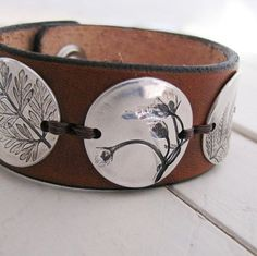 PMC OOAK Jewelry, Fine Silver and Leather Cuff, Natural Plant Impressions, Artisan Handmade Bracelet Jewelry Crafts, Jewelry Art, Silver Jewelry, Fine Jewelry, Natural Jewelry, Geek Jewelry, Gothic Jewelry, Silver Cuff, Leather Accessories