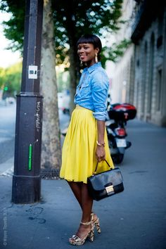 chambray shirt, yellow skirt + animal print shoes