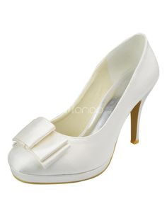 Fashion Ivory Satin Bow High Heel Wedding Shoes. See More Bridal Shoes at http://www.ourgreatshop.com/Bridal-Shoes-C919.aspx