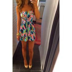 Summer Outfit. The great thing about a tie in the front of the dress is it really makes your wast small plus the sweetheart neck line makes anyone girl look great. This is perfect for a party or a fancy date.