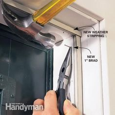 Learn how to remove old, damaged weather stripping around a steel entry door and replace it with new magnetic weather stripping and a new door sweep. The Doors, Entry Doors, Front Doors, Patio Doors, Wood Doors, Garage Doors, Home Renovation, Home Remodeling, Home Improvement Projects