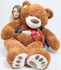 5 Foot Very Big Smiling Teddy Bear Five Feet Tall Cookie Dough Brown Color with Bigfoot Paws Giant Stuffed Animal Bear