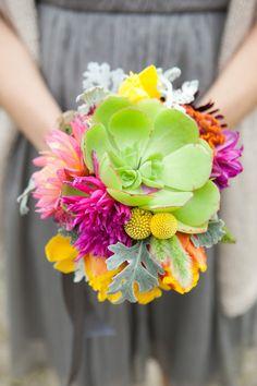 Bright succulent bouquet